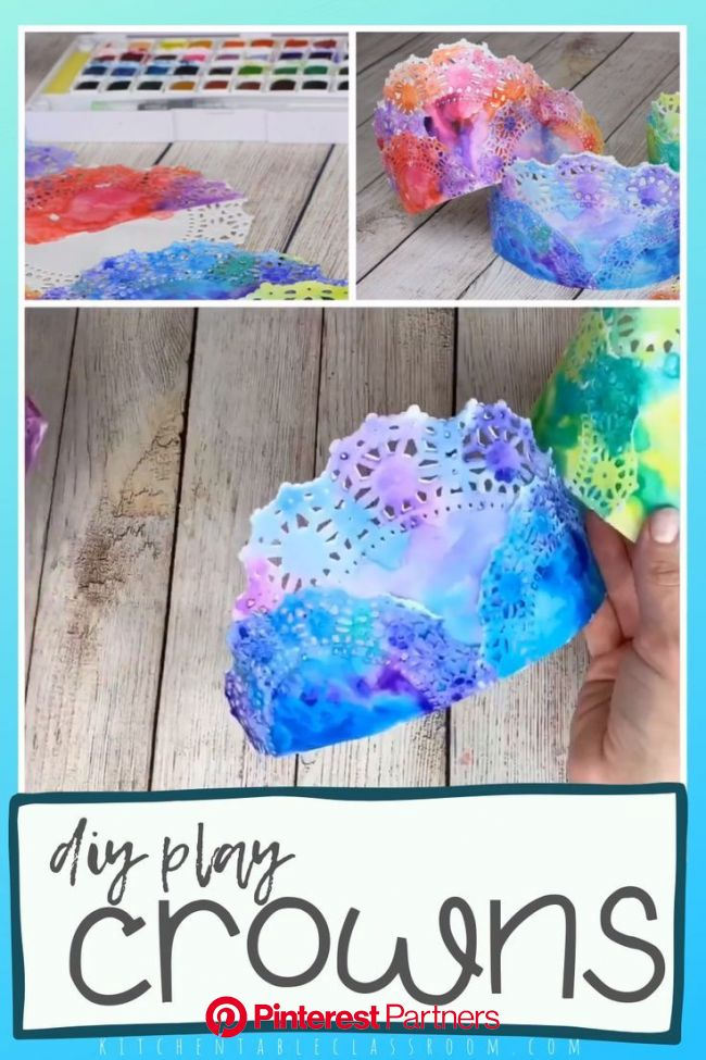 Painted Crowns- Colorful DIY Paper Crowns - The Kitchen Table Classroom in 2020 | Princess crafts, Crafts for kids, Play crown