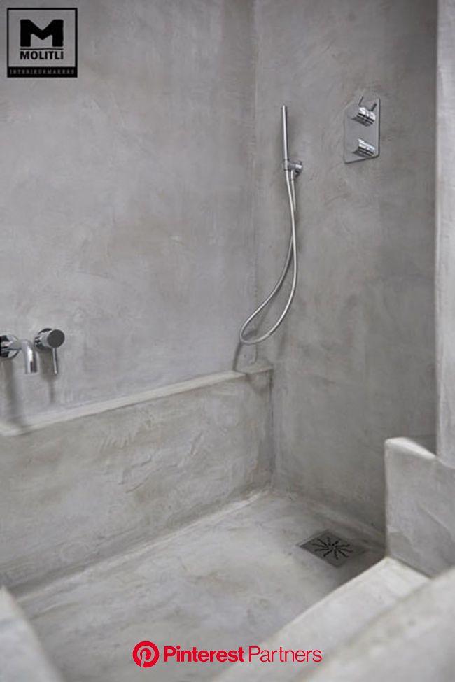 Betonstuc badkamer met verzonken bad industriële badkamers van molitli interieurmakers industrieel | Badkamer, Badkamerideeën, Hedendaagse badkamers