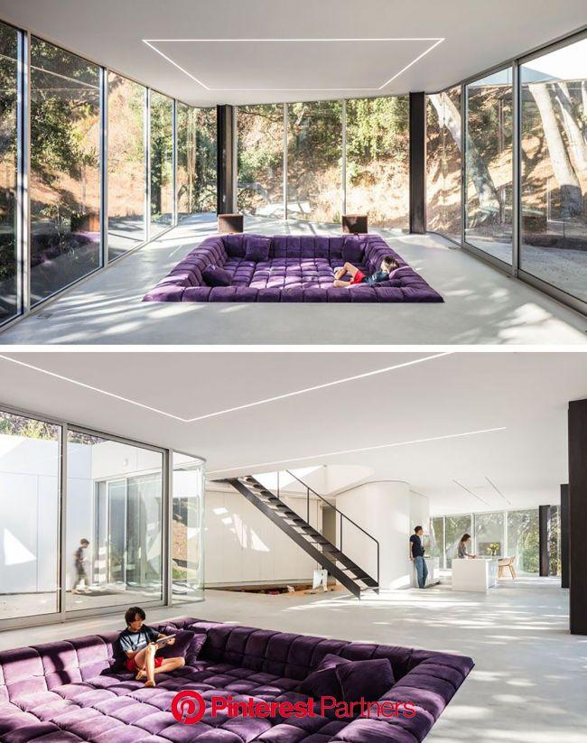 Sunken Living | Sala de estar rebaixada, Idéias de decoração para casa, Arquitetura e decoração