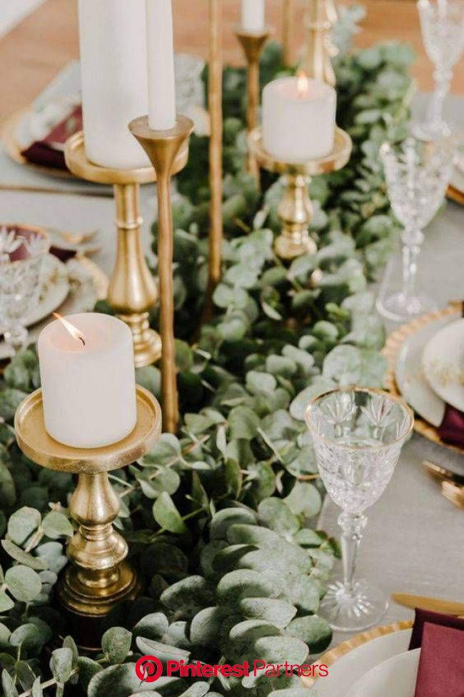 Garland Ideas On Tables Instead Of Centerpiece | Domino | Eucalyptus wedding decor, Wedding centerpieces, Gold winter wedding