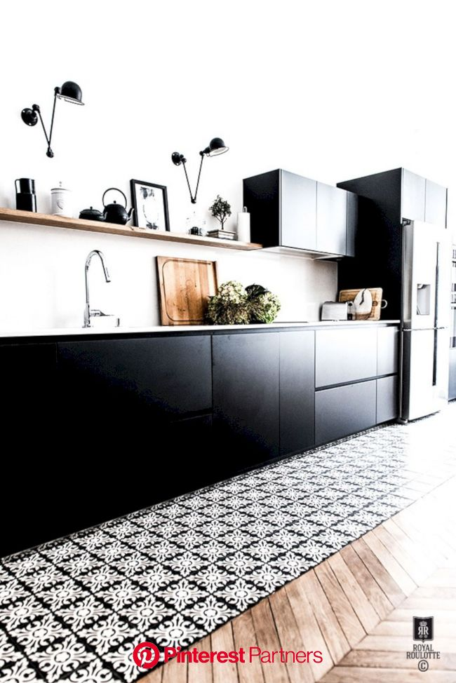 V20 Apartment: Modern Architecture and Scandinavian Interior Design of A Bright Apartment (With images)   Kitchen design, Black kitchens, Black kitche