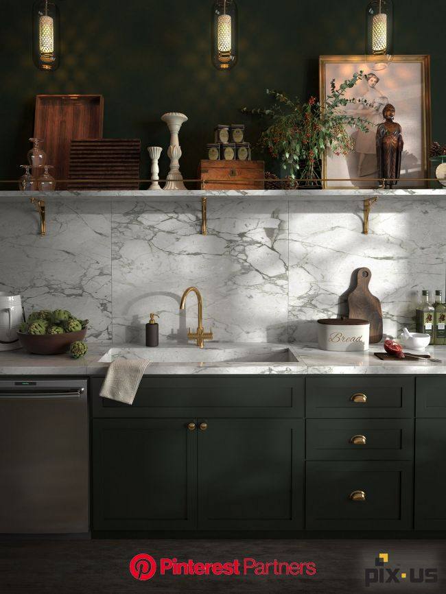 Emerald and marble kitchen. Designed and created here at PIX-US. (With images)   Kitchen marble, Kitchen design, Dark green kitchen
