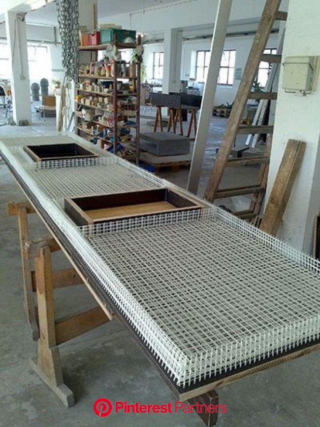 Küche mit textilbewehrter Betonarbeitsplatte - Beton.org #furnituredesigns | Cemento decorativo, Muebles de cemento, Diseño de hormigón