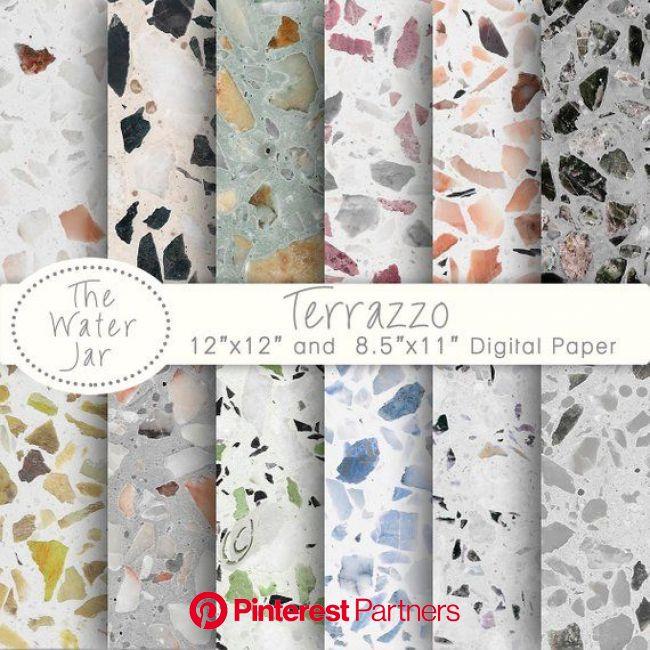 Terrazzo Digital Paper, Terrazzo Patterns for wallpaper or backgrounds, Digital Terrazzo Texture Design Resource, Colored Stone Tile in 2020 | Terrazz