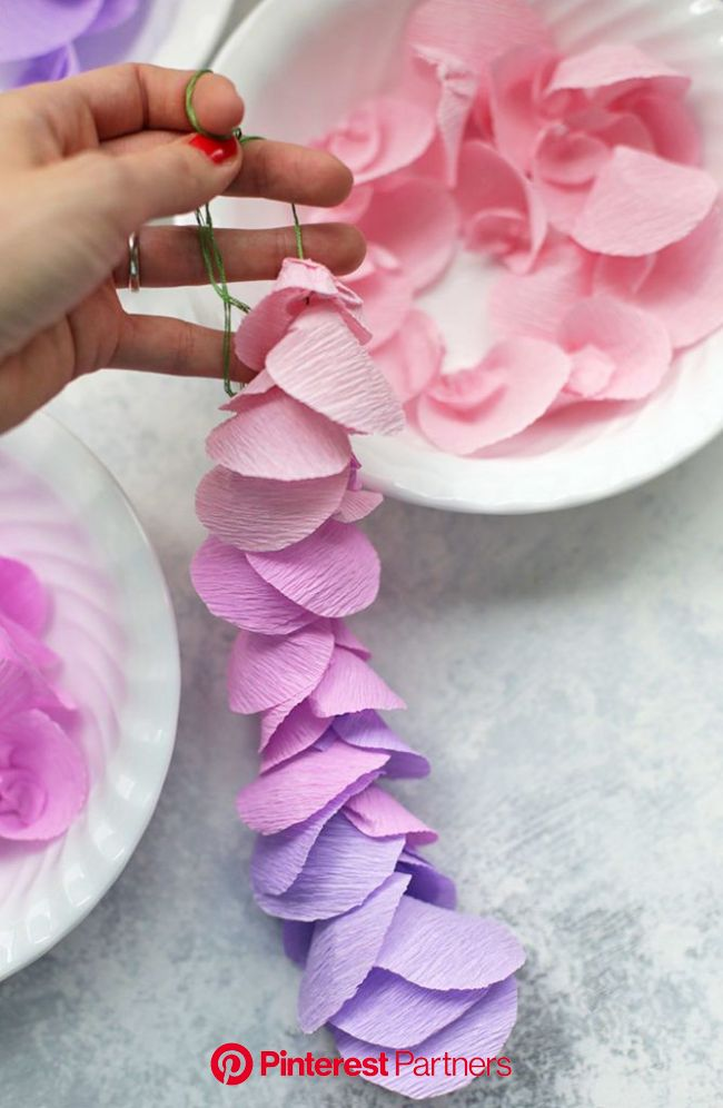 Strands of paper wisteria. Love this for a Spring decoration!   Flower Garden Party   Paper flowers diy, Paper flowers, Tissue paper flowers