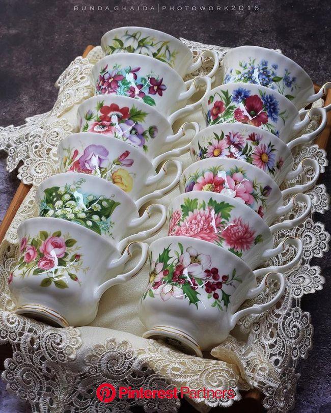 Vintage Stories and Style — Royal Albert - Flower of the month series - tea... | Tea cup display, Tea cups vintage, Tea cups