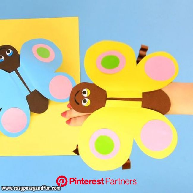 Check how to Make This Insanely Fun Butterfly Puppet   Preschool crafts, School crafts, Butterfly crafts