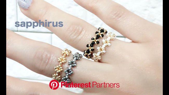 【ビーズステッチ】デミビーズと特小ビーズで作る簡単レシピ☆リングの作り方 How to make a ring using Demi beads... | ビーズ 指輪 作り方, ビーズの指輪, 指輪 作り方