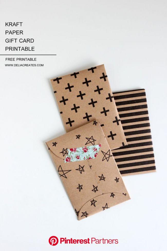 Kraft Paper Gift Card Envelope Free Printable | Paper gifts, Printable gift cards, Card envelopes