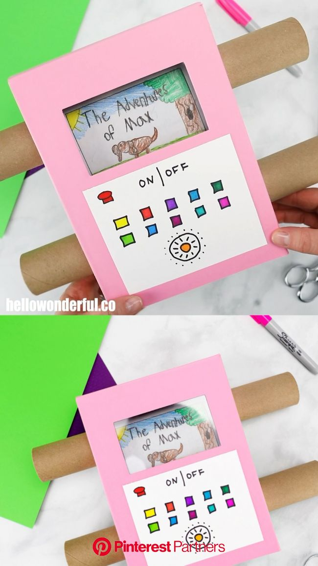 EASY DIY RECYCLED CARDBOARD TV SHOWING OFF YOUR KIDS' ART [Video] [Video] | Craft activities for kids, Creative activities for kids, Crafts for k