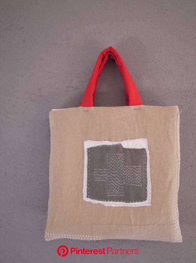 布と刺し子のコラージュバッグ | 無縫製バッグ, バッグ型紙, 布バッグ