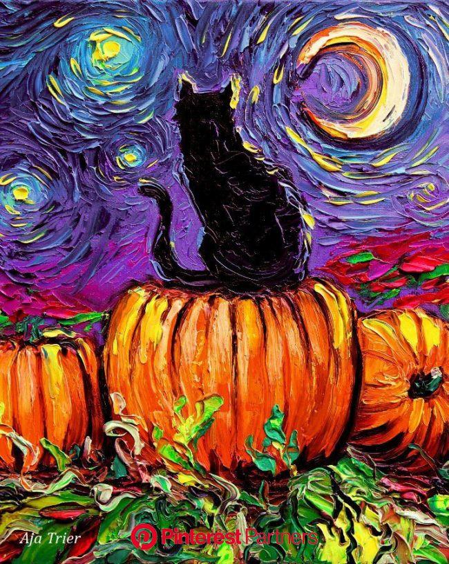 Huge Halloween 24x30 Print Starry Hallows' Eve Starry | Etsy in 2021 | Starry night art, Fall artwork, Autumn art