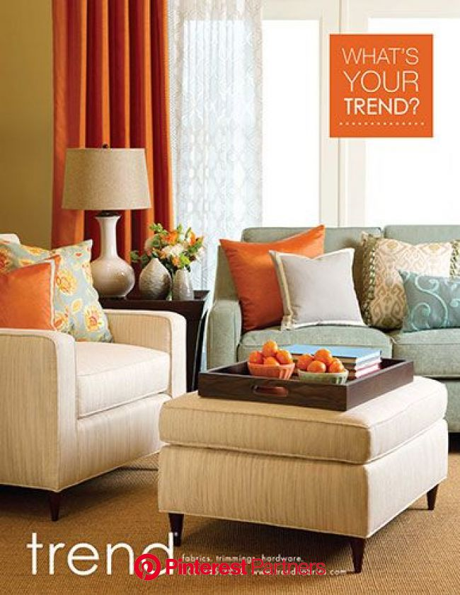 Trend ad from vision magazine...what a great  group of colors of the draperies and p… | Living room orange, Orange accents living room, Living room co