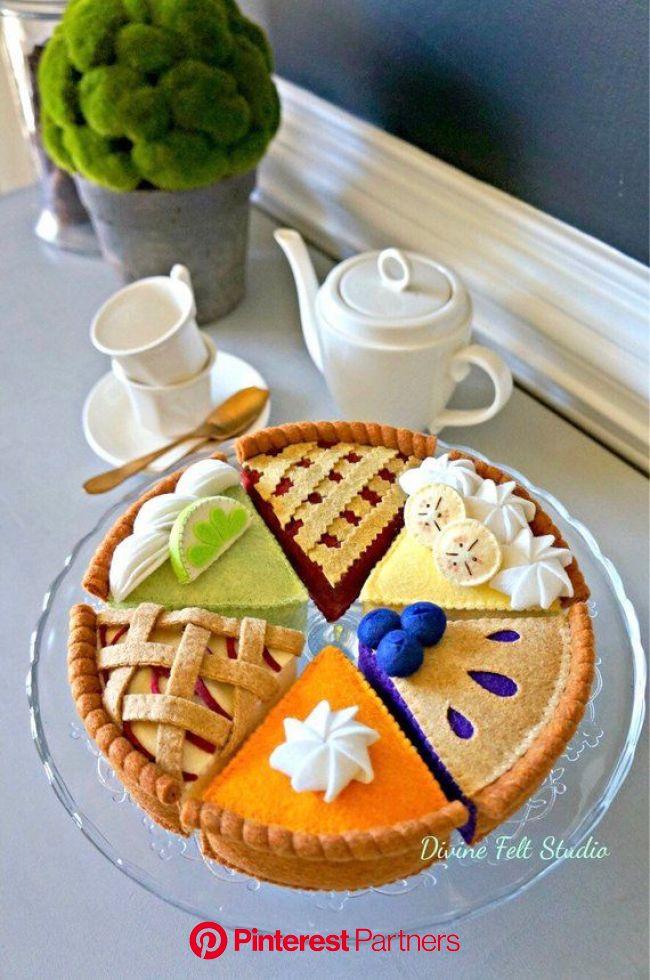 Felt Cherry Pie-Felt Food Pretend Play Tea Party (With images) | Felt food, Felt cake