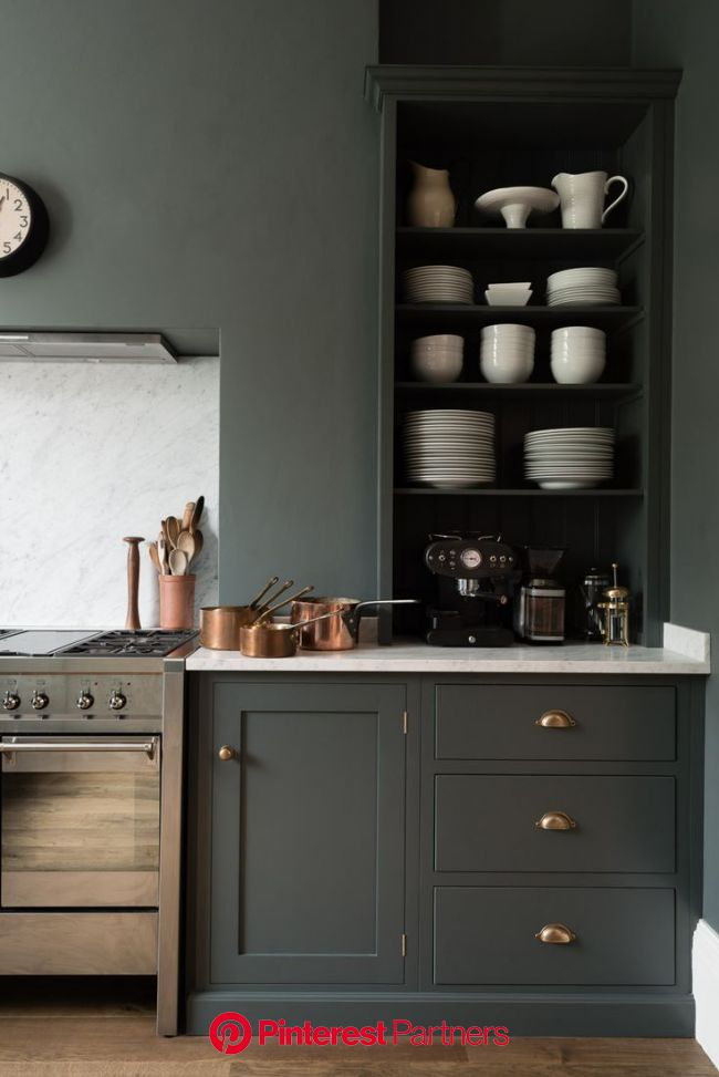 Copper pans, open storage and a lovely Smeg range cooker in deVOL's Bloomsbury WC1 shaker kitchen | Kitchen trends, Devol kitchens, Kitchen inspi