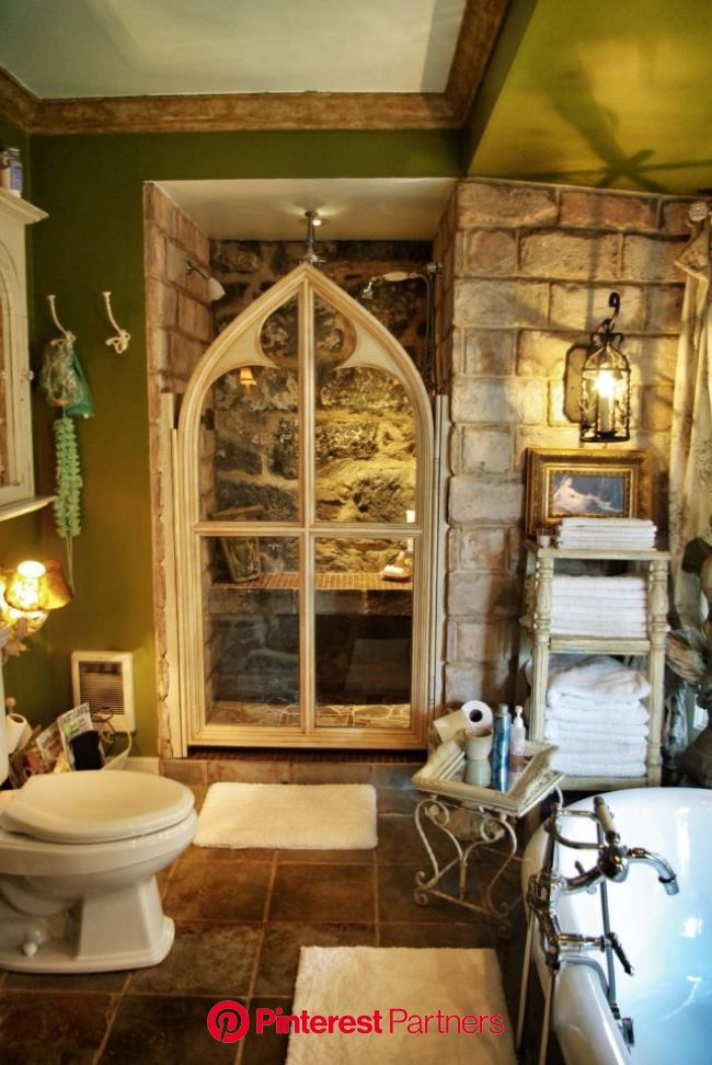 It looks like its from a fairy tale. And outside would be a pretty garden where faeries lived and glowed brightly. | Gothic bathroom