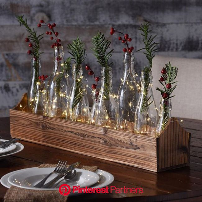 Since the Glass Bottle #Vase Runner Set is a fan-favorite year-round, then it's obviously… | Christmas centerpieces, Christmas table centerpieces