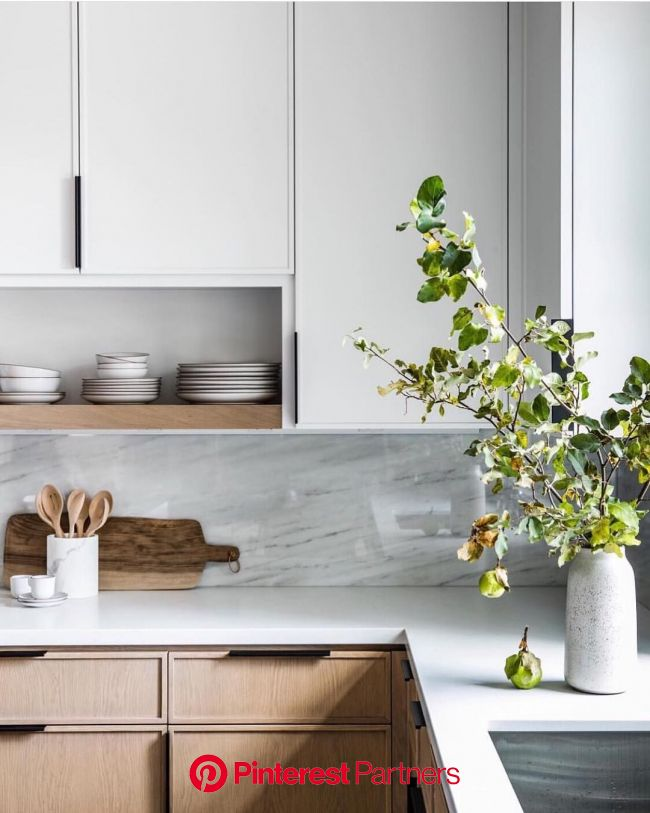 "Farmer's Daughter Interiors on Instagram: ""Modern cabinet profiles, marble backsplash + open shelving - … (With images) 