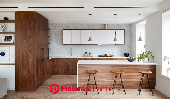 Modern kitchen with sleek european style cabinets and slab marble backsplash #scandinavian #nordi… | Kitchen room design, Small condo kitchen, Modern
