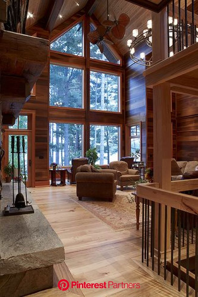 Warm & Inviting great room | Cedar homes, Lindal cedar homes, Rustic home design