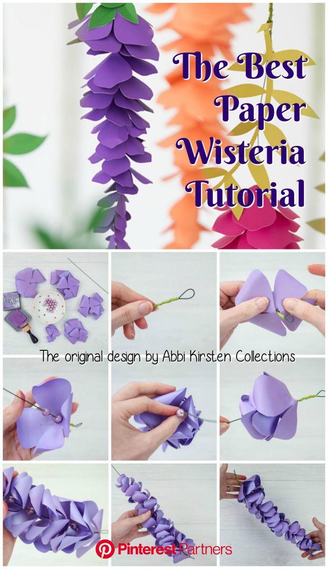 Paper Wisteria Tutorial: DIY Hanging Paper Wisteria Flowers   Paper flowers diy, Paper flowers craft, Paper flower tutorial