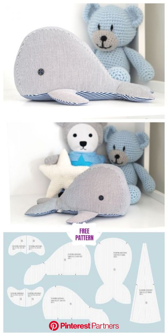 DIY Fabric Whale Plush Free Sew Patterns - 3 Sizes   Padrões de brinquedos de pelúcia, Padrões de animais, Costura livre