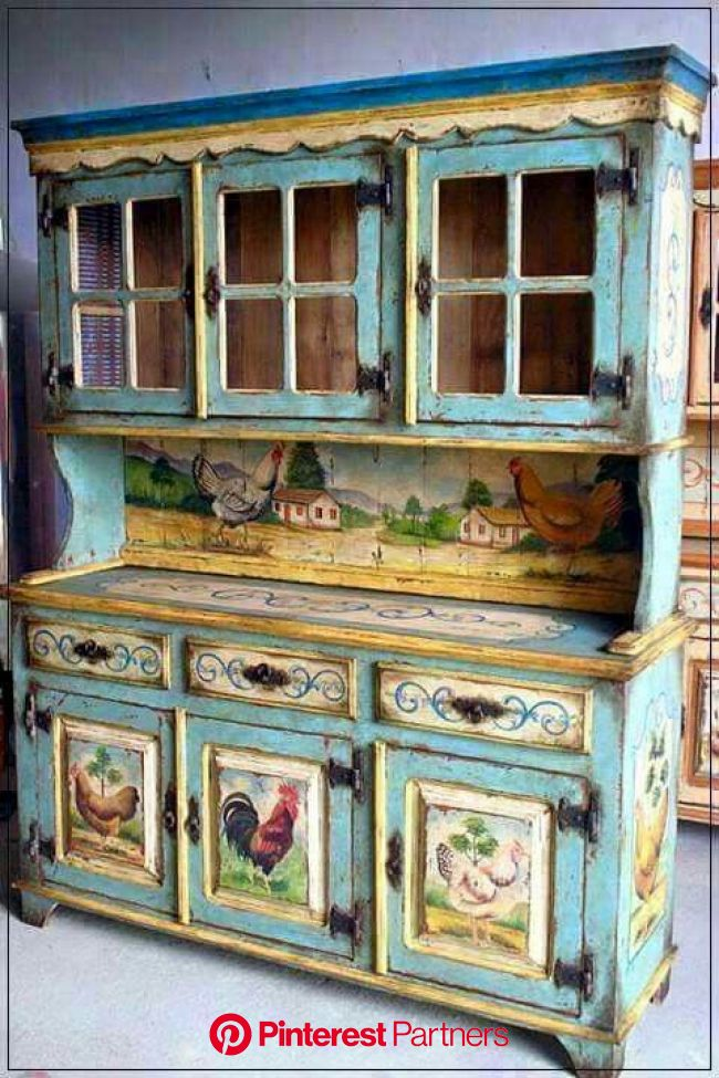 Painted cupboard                                                                                   … | Decoupage furniture, Painted furniture, Country