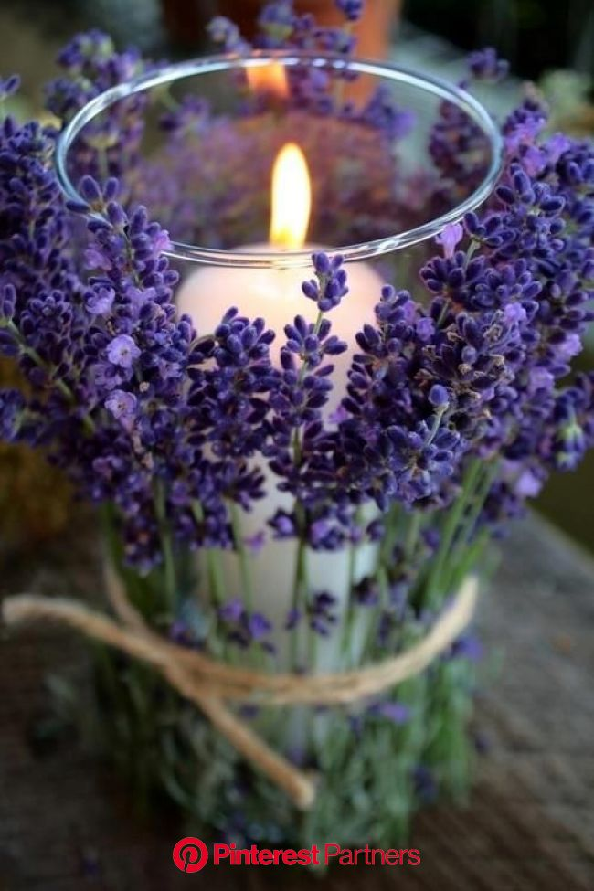 Lavender and Twine Wrapped Candles | Diy wedding decorations, Candle wrap, Flower arrangements