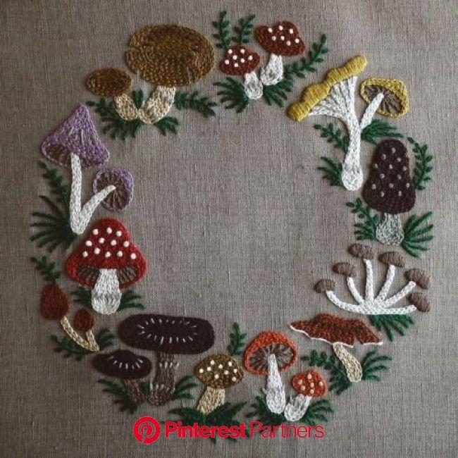 mushroom wreath ミセス10月号連載より(画像あり)   日本刺繍, リボン刺繍, 手芸刺繍
