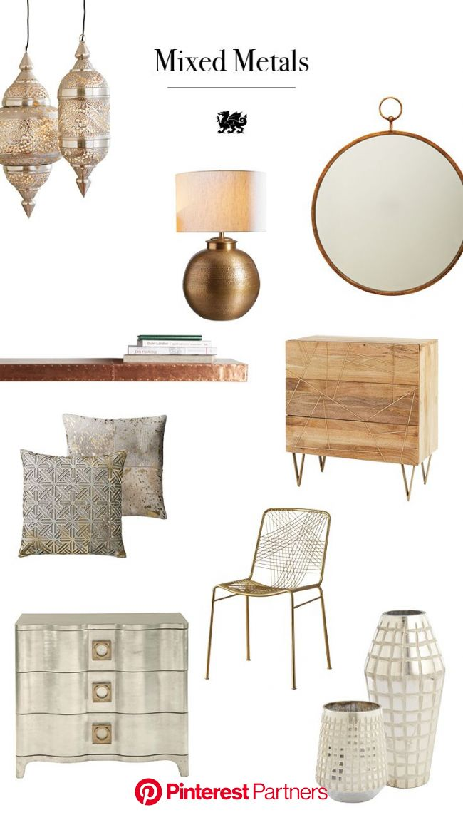 For a fresh take on mixed metals, incorporate neutral colors, antique finishes, and raw edged woods t… | European home decor, Tiny house decor, Home d