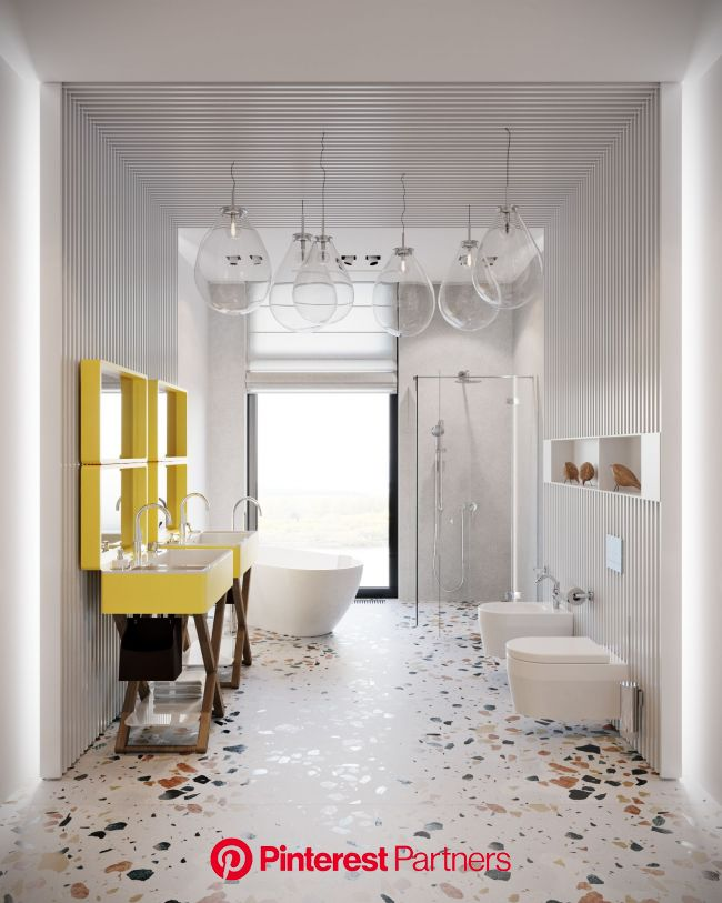 This fresh and bright bathroom is for two children. | Bright bathroom, Bathroom interior design, Childrens bathroom