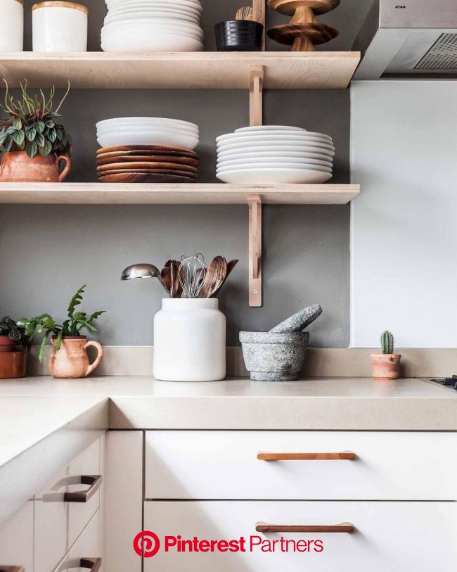 Open kitchen / Cocina con repisas abiertas #cocina #kitchen | Wood countertops kitchen, Home decor kitchen, Simple kitchen