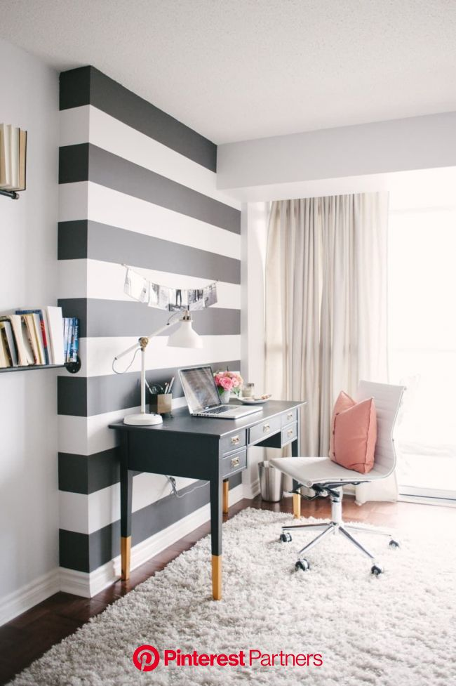 One Hour Wows: How To Make a Dramatic Room Statement in Just 60 Minutes | Striped accent walls, Office interior design, Small house furniture