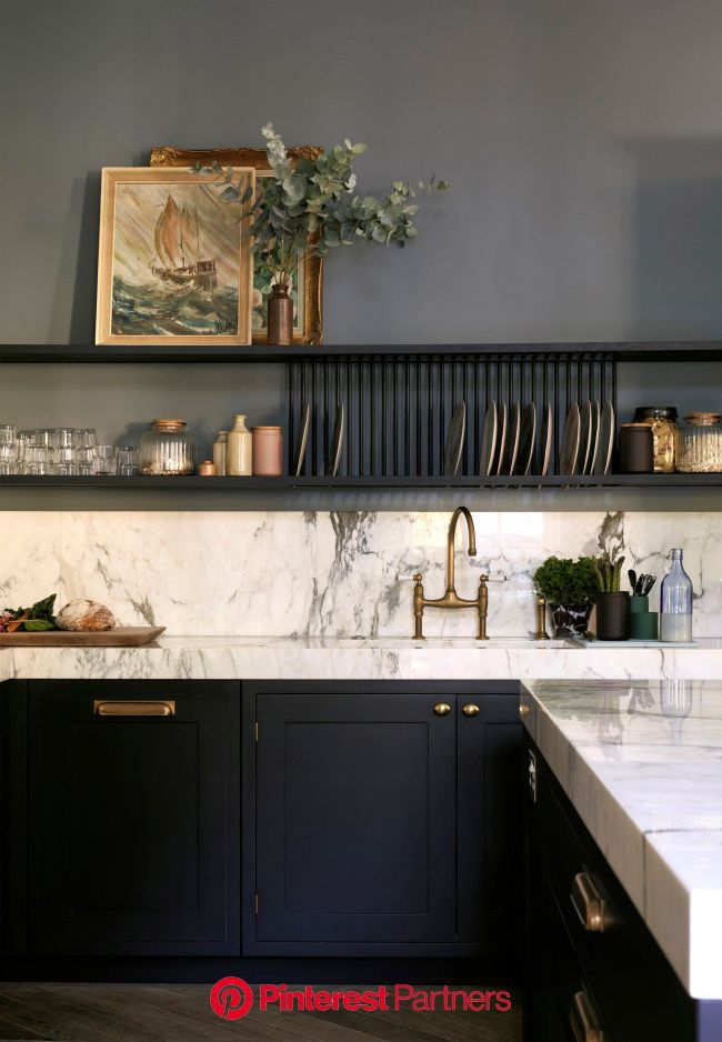 Tips for painted cabinets from Farrow & Ball - Cabinets are Railings and walls are De Nimes // Centered by …   Contemporary kitchen, Kitchen remod