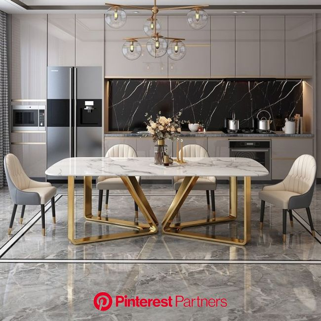 Modern Rectangle 63 | Dining room design modern, Modern kitchen design, Dining table marble
