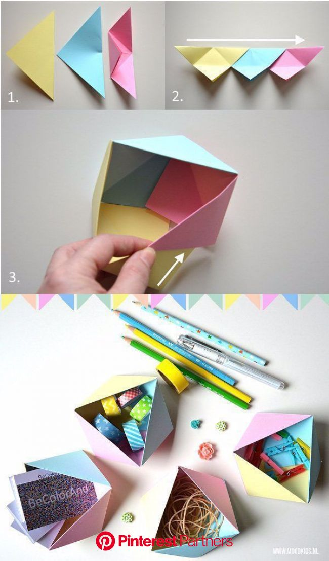 Faltbare geometrische Origami-Box - DIY Papier Blog in 2020