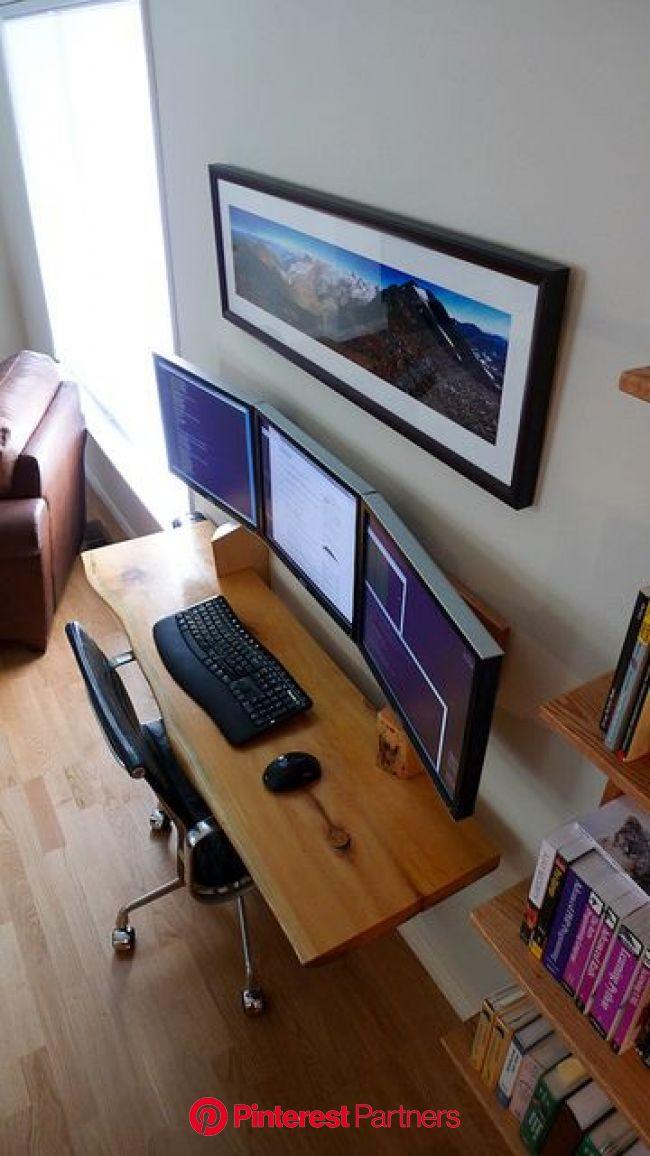 hanging desk 3 monitor workspace | Home office design, Built in desk, Home office setup