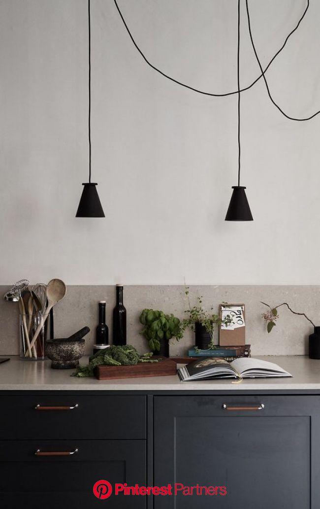 Dark kitchen with a beige countertop | Modern kitchen design, Interior, Black kitchens