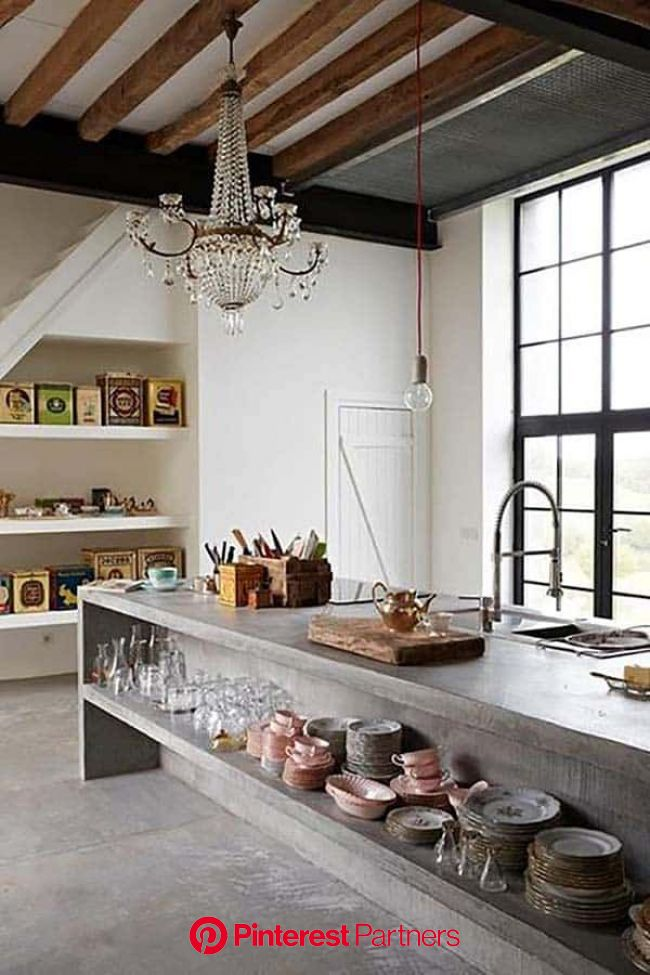 40 Amazing and stylish kitchens with concrete countertops | Concrete countertops kitchen, Stylish kitchen, Rustic kitchen