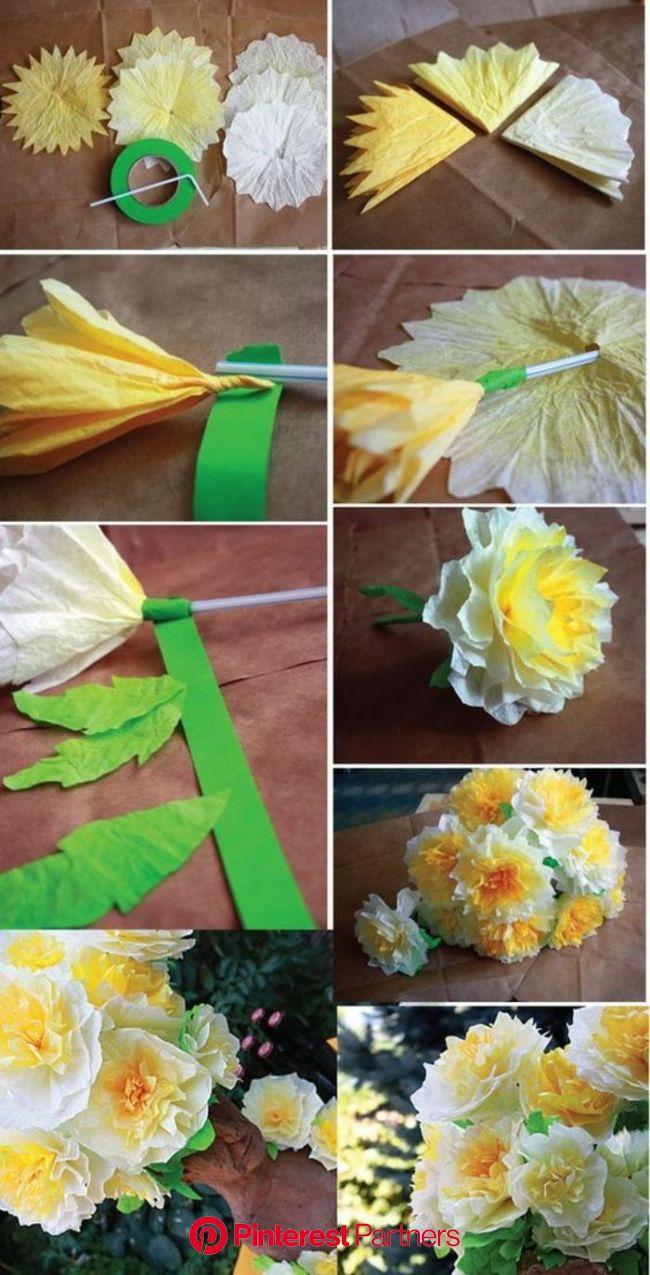 1001 Ideen wie Sie Papierblumen basteln können  blumenstrauß gelbe blumen aus papier basteln grünes klebeb… | Paper flowers diy, Paper flowers, Tissue