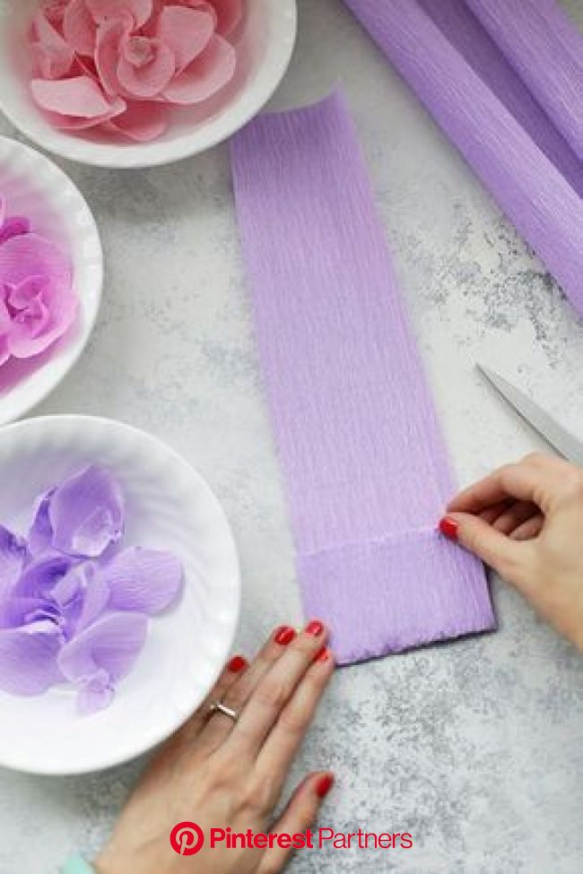 How to Make Crepe Paper Wisteria   Paper flowers diy, Tissue paper flowers, Purple tissue paper