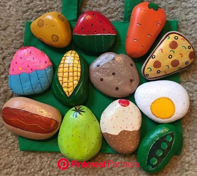 Play Food Kitchen Painted Rocks Pretend Play Play Kitchen | Etsy in 2020 | Painted rocks kids, Painted rocks diy, Painted rocks