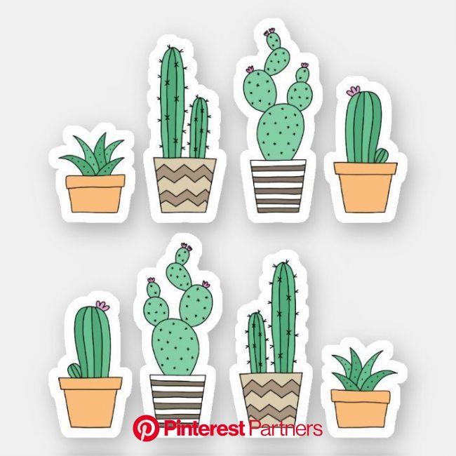 pegatinas suculentos Cactus cacti | Zazzle.com di 2021 | Seni buku, Pola bunga, Pola doodle
