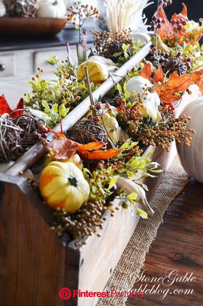 FALL TOOL CADDY ARRANGEMENT - StoneGable | Fall harvest, Fall arrangements, Fall thanksgiving