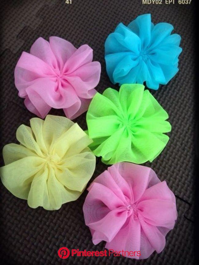 シフォンお花の作り方♥️   チュールリボン 作り方, 布花 作り方, ハンドメイド コサージュ 作り方