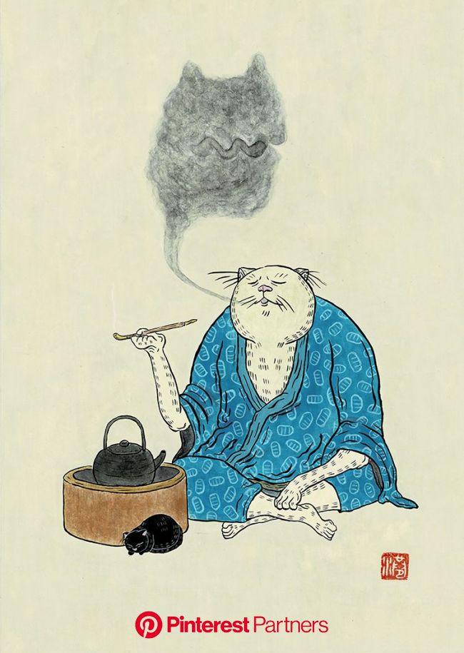 アク抜き #Art #illustration #イラスト #絵 #和風 #猫 #休憩 #息抜き | キャットアート, 猫のタトゥー, 猫のイラスト