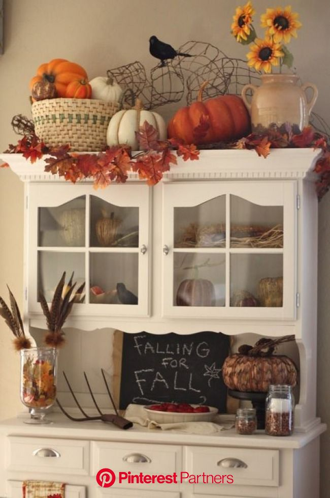 Fall decorations. I would have to put the pitch fork somewhere up high, but this is pretty classy for abov… | Fall kitchen decor, Fall halloween decor